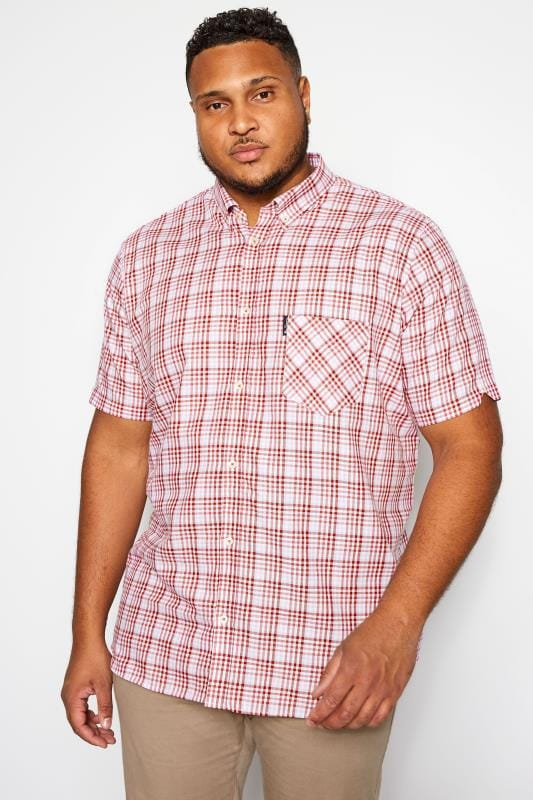 Große Größen Casual Shirts BEN SHERMAN Red & Pink Gingham Check Shirt