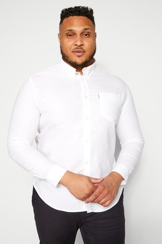 Smart Shirts dla puszystych BEN SHERMAN White Signature Oxford Shirt