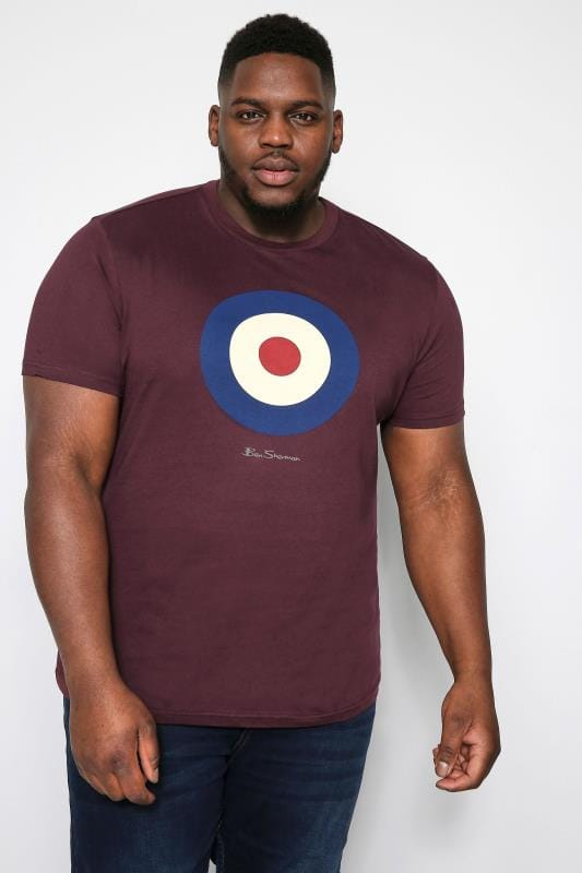 Plus-Größen Ben Sherman T-Shirts BEN SHERMAN Wine Red Target Graphic Print T-Shirt