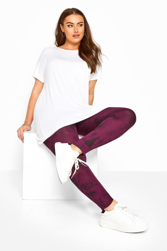 Wine Purple Tie Dye Leggings