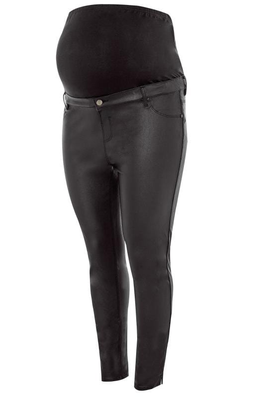 BUMP IT UP MATERNITY Black Coated Jeggings