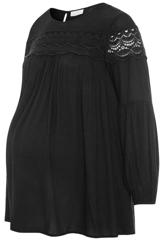 Plus Size Maternity Tops & T-Shirts BUMP IT UP MATERNITY Black Lace Insert Top