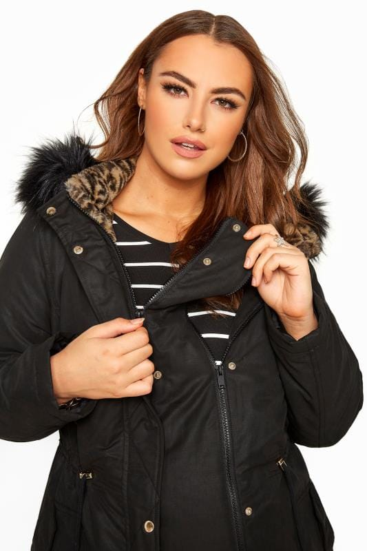 BUMP IT UP MATERNITY Black Animal Print Faux Fur Parka Coat