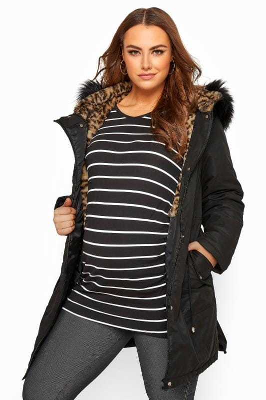 Maternity Coats & Jackets dla puszystych BUMP IT UP MATERNITY Black Animal Print Faux Fur Parka Coat