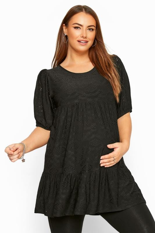 Plus Size Maternity Tops & T-Shirts BUMP IT UP MATERNITY Black Broderie Anglaise Tiered Smock Top