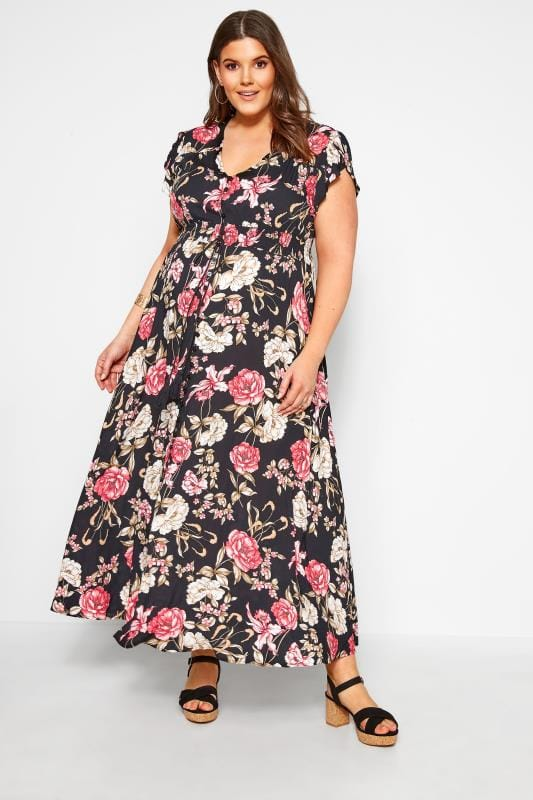Floral Dresses Grande Taille BUMP IT UP MATERNITY Black Floral Maxi Dress
