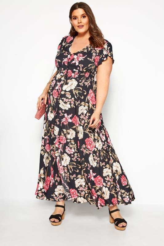 Plus Size Floral Dresses BUMP IT UP MATERNITY Black Floral Maxi Dress