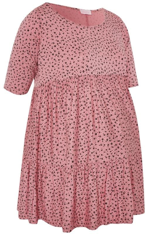 Maternity Tops & T-Shirts Tallas Grandes BUMP IT UP MATERNITY Pink Ditsy Floral Tiered Smock Tunic