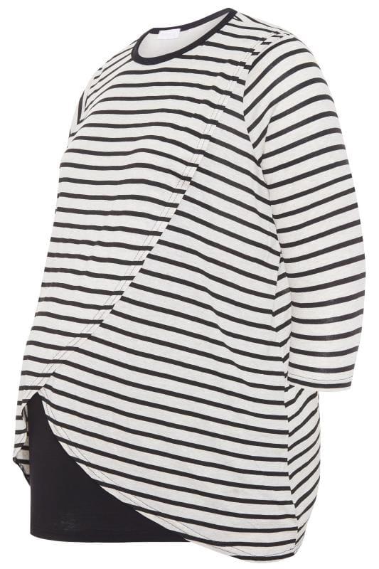 BUMP IT UP MATERNITY Black & White Stripe Nursing Top