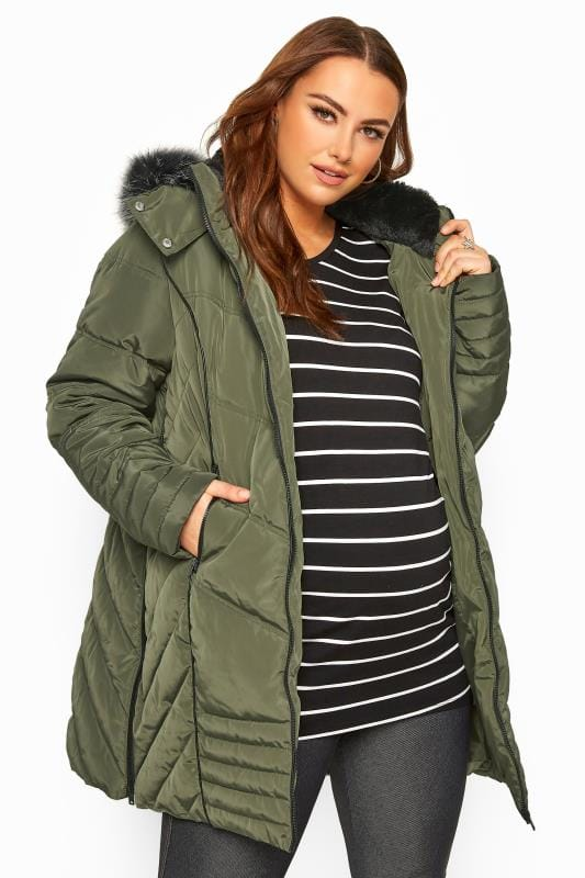 Maternity Coats & Jackets dla puszystych BUMP IT UP MATERNITY Khaki Green PU Trim Longline Puffer Jacket