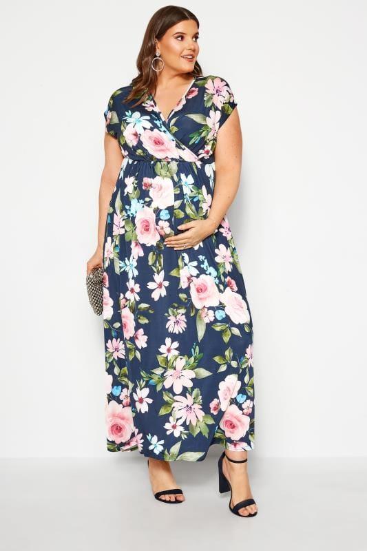 BUMP IT UP MATERNITY Navy Floral Wrap Maxi Dress