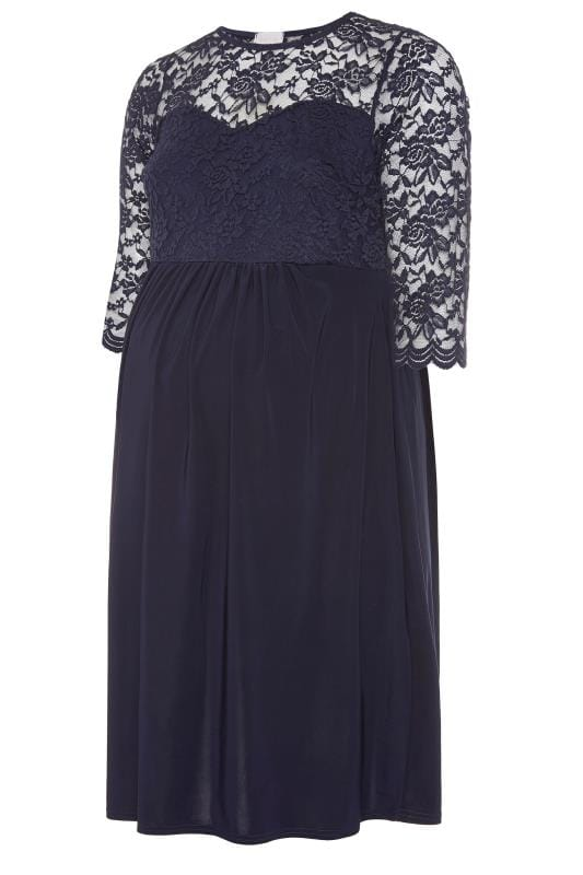 BUMP IT UP MATERNITY Navy Lace Midi Dress