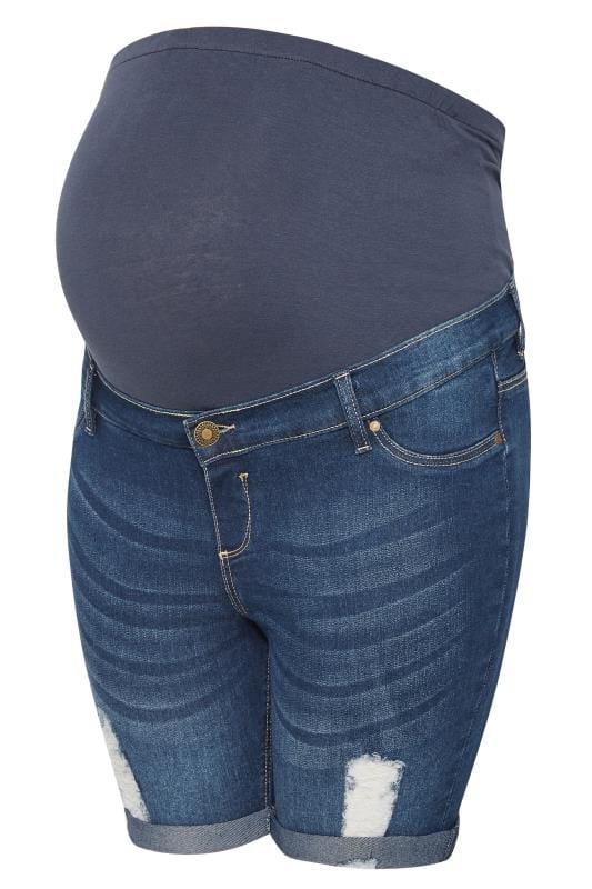 BUMP IT UP MATERNITY Blue Distressed Denim Shorts