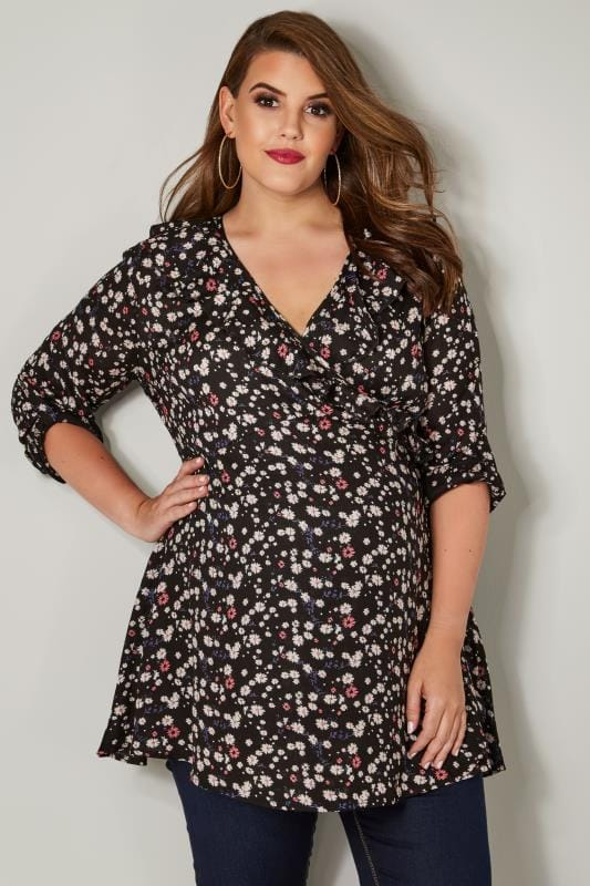 Plus Size Maternity Tops & T-Shirts BUMP IT UP MATERNITY Black & Multi Floral Ruffle Wrap Top With Tie Back