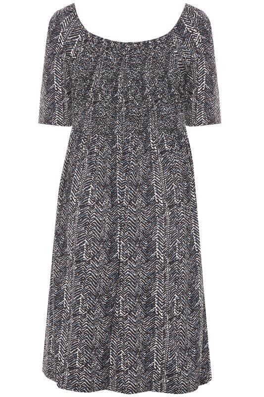 BUMP IT UP MATERNITY - Zwarte midi-jurk met aztec print