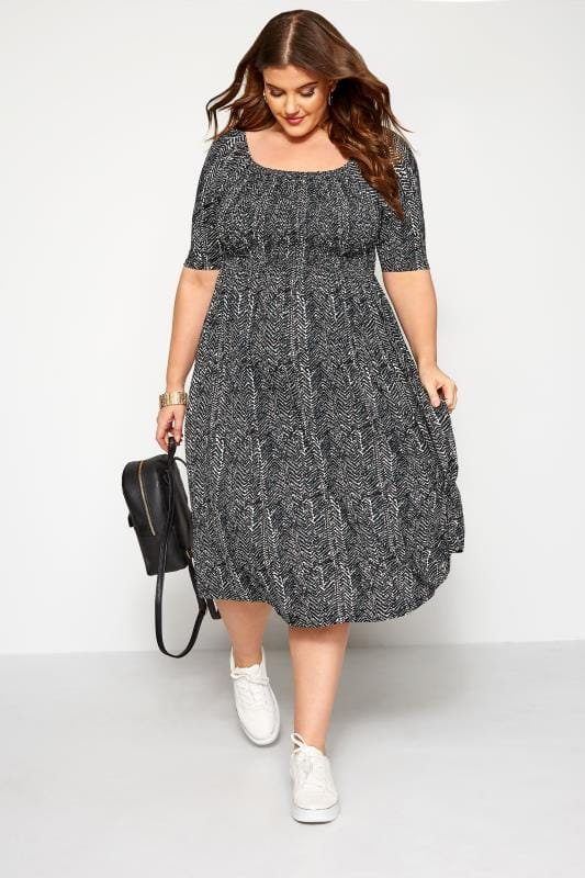 Plus Size Maternity Dresses BUMP IT UP MATERNITY Black Aztec Shirred Dress