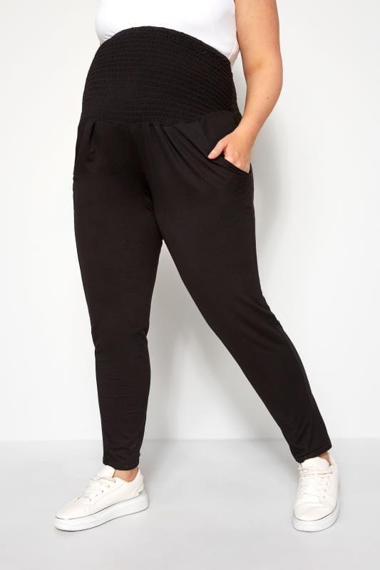Plus Size Maternity Trousers BUMP IT UP MATERNITY Black Shirred Harem Trousers