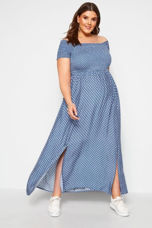Plus Size Maternity Dresses BUMP IT UP MATERNITY Blue Polka Dot Bardot Maxi Dress