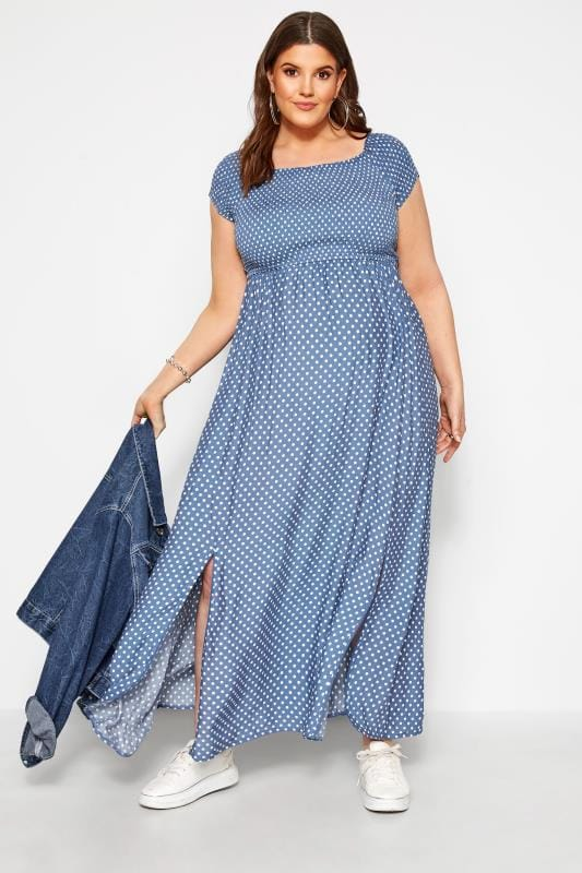 Maternity Dresses dla puszystych BUMP IT UP MATERNITY Blue Polka Dot Shirred Maxi Dress