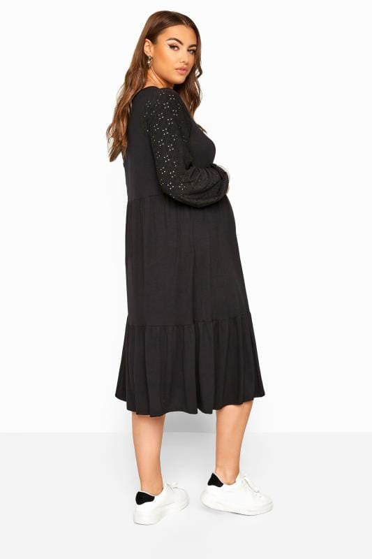 BUMP IT UP MATERNITY Black Broderie Anglaise Sleeve Tiered Dress