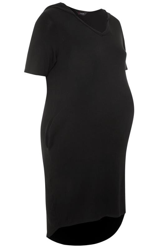 BUMP IT UP MATERNITY Black Hooded Jersey Dress