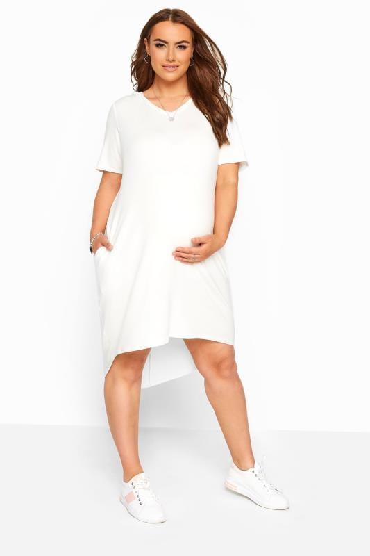 Plus Size Maternity Dresses BUMP IT UP MATERNITY Cream Hooded Jersey Dress