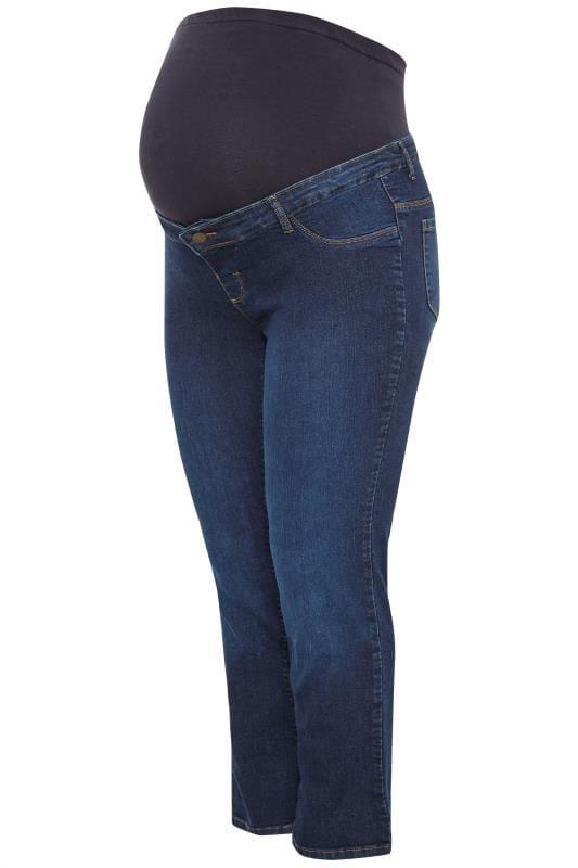 BUMP IT UP MATERNITY Dark Blue Straight Leg Jeans With Comfort Panel