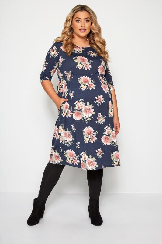 BUMP IT UP MATERNITY Navy Floral Print Skater Dress