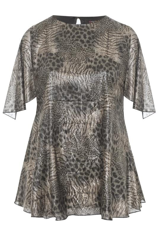Black & Silver Metallic Mixed Animal Print Blouse