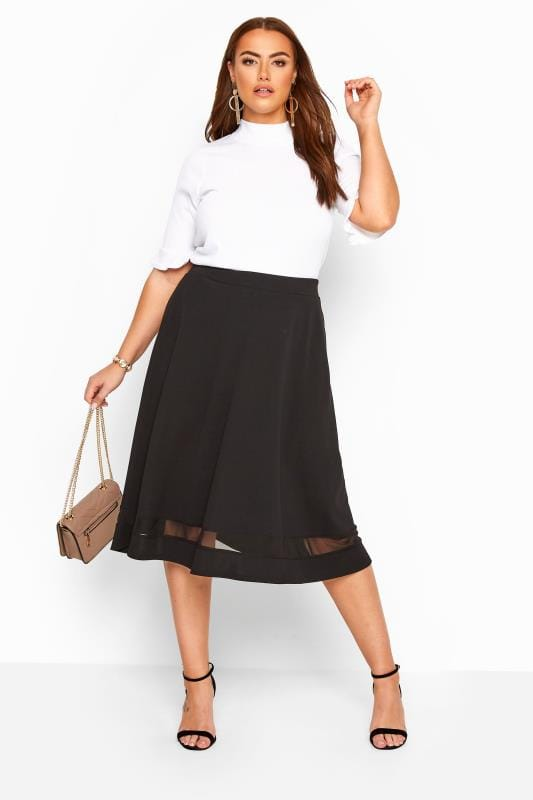 Midi Skirts dla puszystych YOURS LONDON Black Mesh Panel Flared Skater Skirt