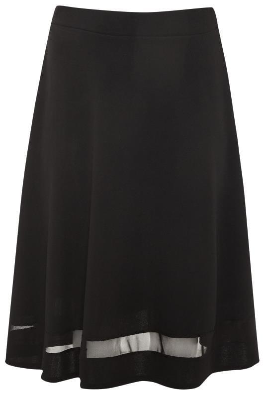 YOURS LONDON Black Mesh Panel Flared Skater Skirt