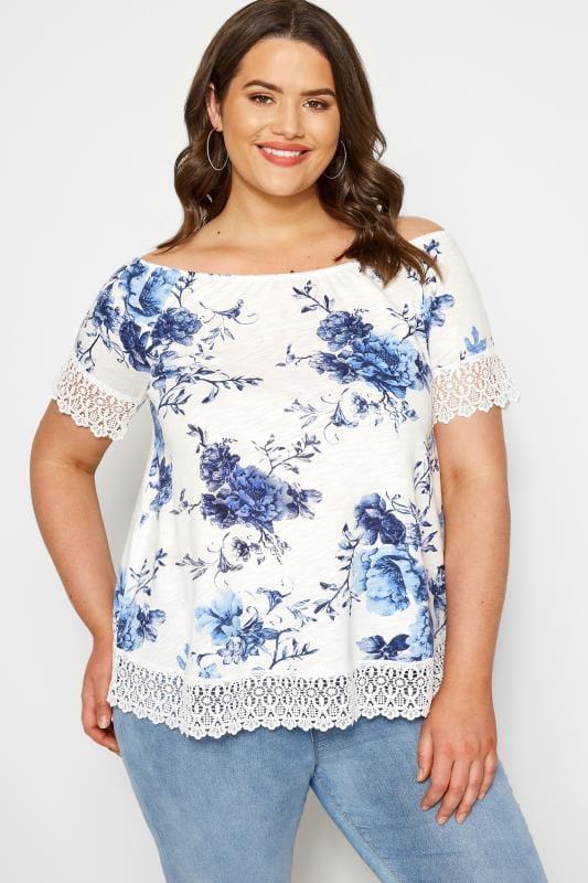 White & Blue Floral Lace T-Shirt