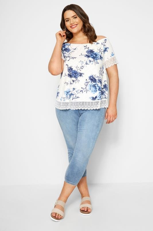 White & Blue Floral Lace T-Shirt