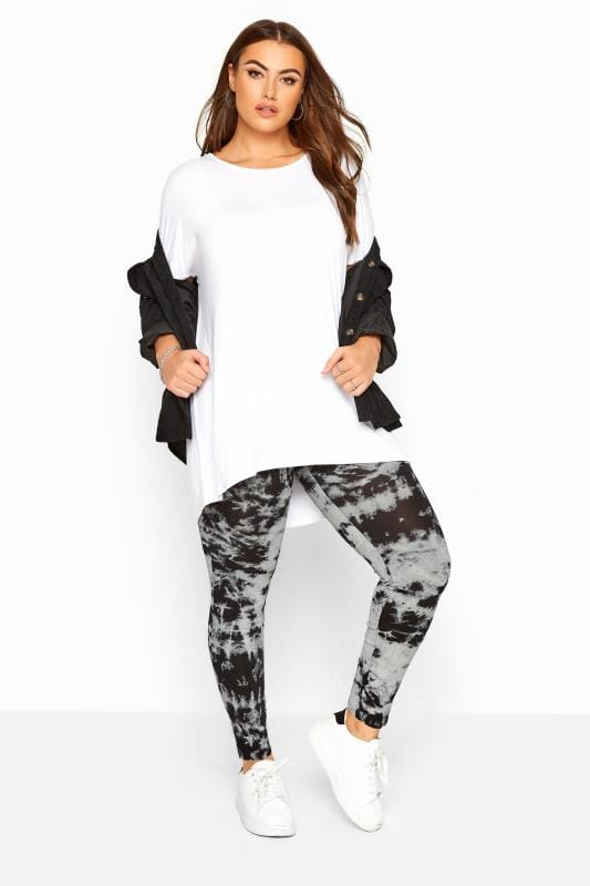 Plus Size Fashion Leggings Black Tie Dye Leggings