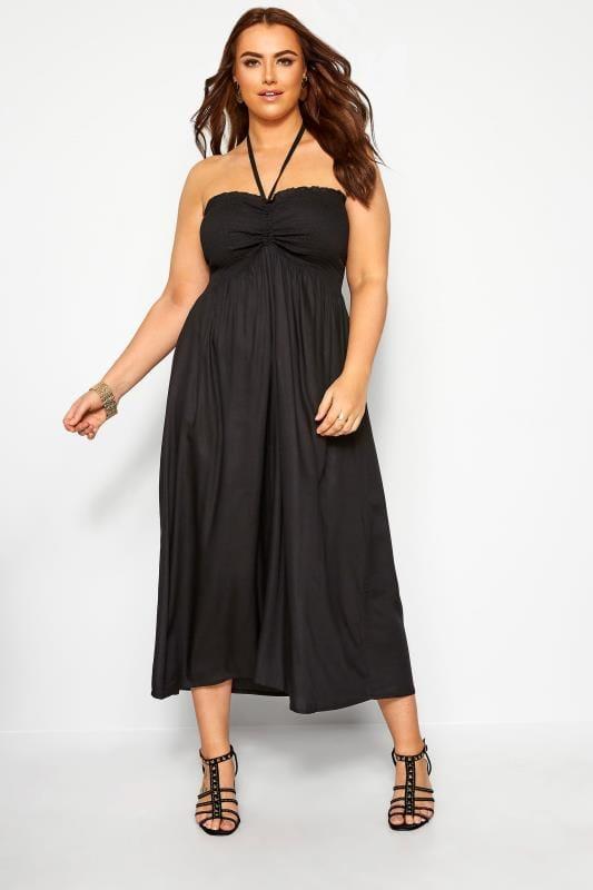 Black Shirred Halterneck Midi Dress