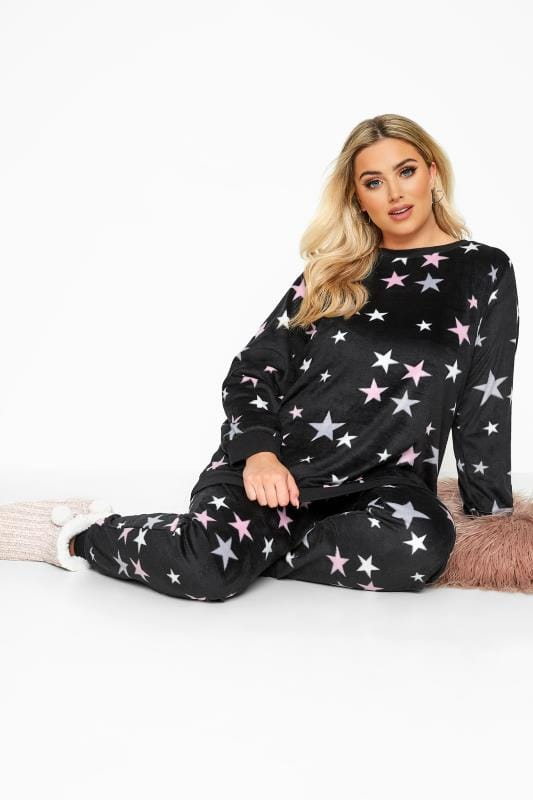 Plus Size Loungewear Black Star Fleece Lounge Set