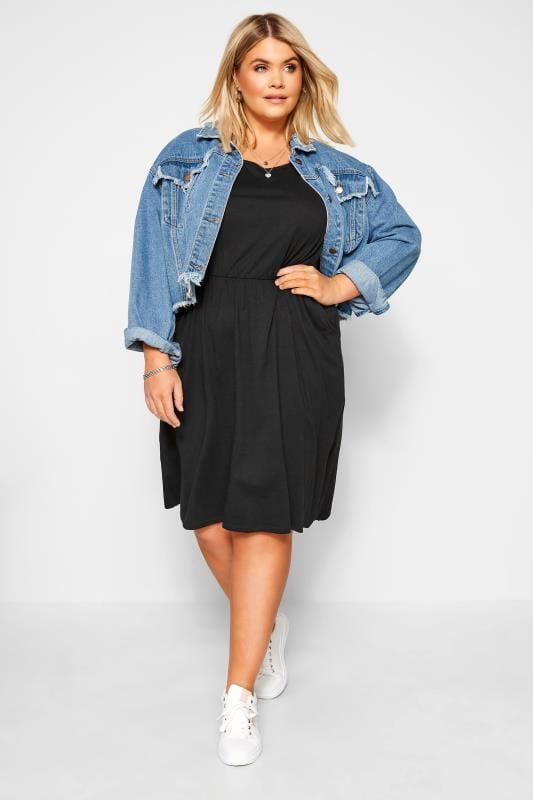 Plus Size Corsage Black Cross Back T-Shirt Dress
