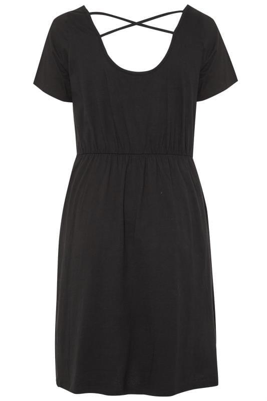 Black Cross Back T-Shirt Dress
