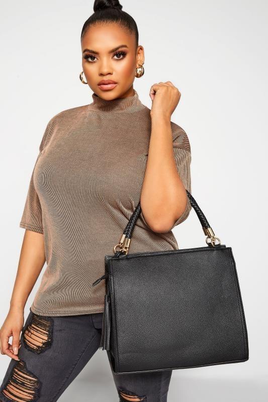 Shopper & Tote Bags Black Tassel Handle Tote Bag