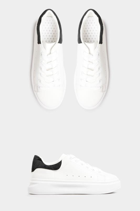 Plus Size Shoes LIMITED COLLECTION White Trainers With Black Trim In Standard Fit