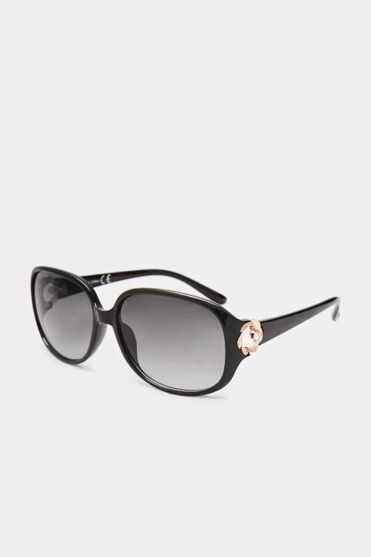 Большие размеры | Sunglasses Black Oversized Gold Detail Sunglasses