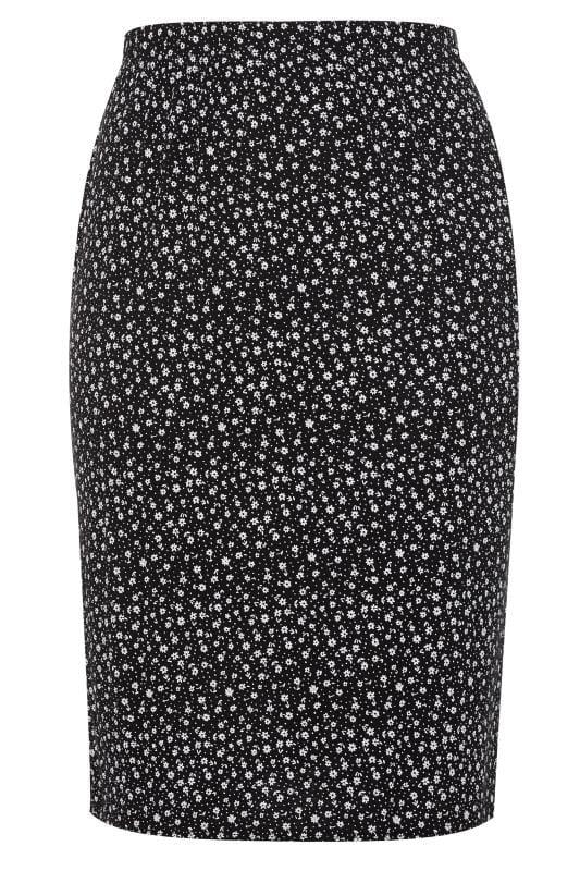 Black Ditsy Floral Spot Midi Tube Skirt