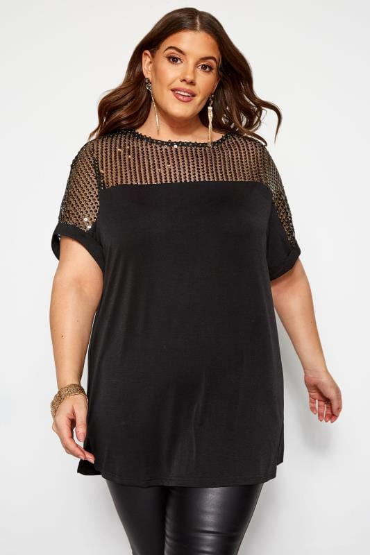 Plus Size Jersey Tops Black Sequin Sparkle Top