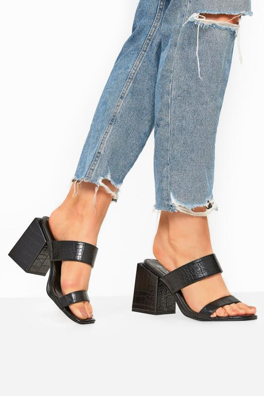 Wide Fit Sandals LIMITED COLLECTION Black Vegan Faux Leather Croc Heeled Mules In Extra Wide Fit