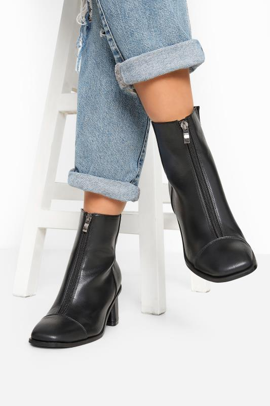 Wide Fit Boots LIMITED COLLECTION Black Vegan Faux Leather Zip Heeled Boots In Wide Fit