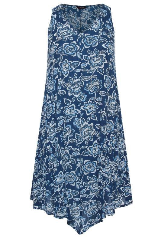 Blue Floral Swing Dress