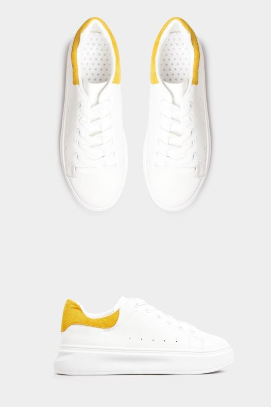 Plus-Größen Shoes LIMITED COLLECTION White Trainers With Yellow Trim In Standard Fit