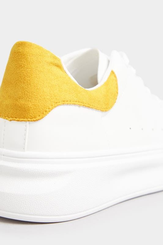 White Trainers With Yellow Trim