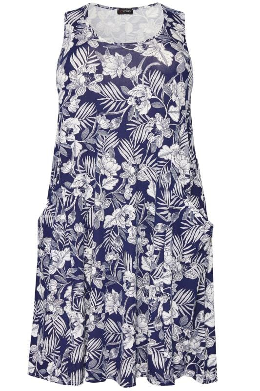Blue Tropical Sleeveless Drape Pocket Dress