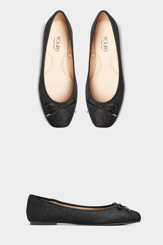 Black Glitter Bow Ballerina Pumps In Extra Wide Fit
